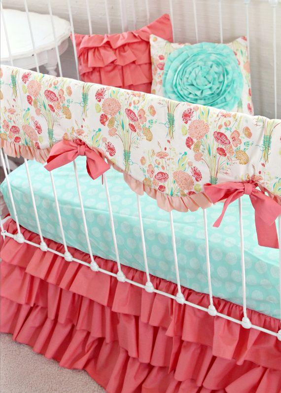 Peach Mint Coral baby bedding ruffle crib rail by LottieDaBaby