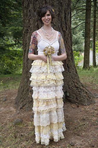 Real Green Wedding From Greenbrideguide Homemade Dressesgreen