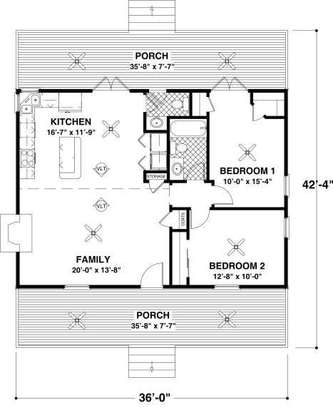 Cottage Style House Plan - 2 Beds 1.5 Baths 954 Sq/Ft Plan #56-547 Main Floor Plan - Houseplans.com