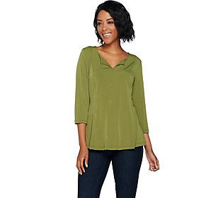 Susan Graver Modern Essentials Liquid Knit Fit & Flare Top