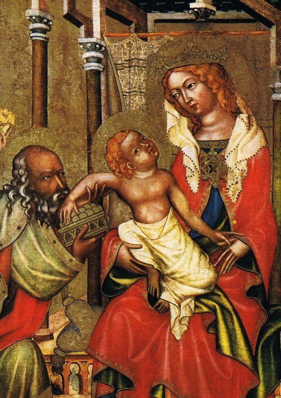 Klanění tří králů (před rokem 1350), výřez