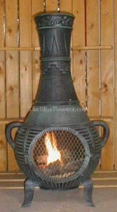 ALCH015AGGKLP Gas Powered Pine Chiminea Outdoor Fireplace in Antique Green - Liquid by The Blue Rooster Company. $519.95. The Pine Chiminea with Gas is an eclectic design with the excellent qualities of solid cast aluminum alloy construction Built in carry handles and removable neck makes this medium size chiminea highly portable perfect for the smaller patio area a tra...