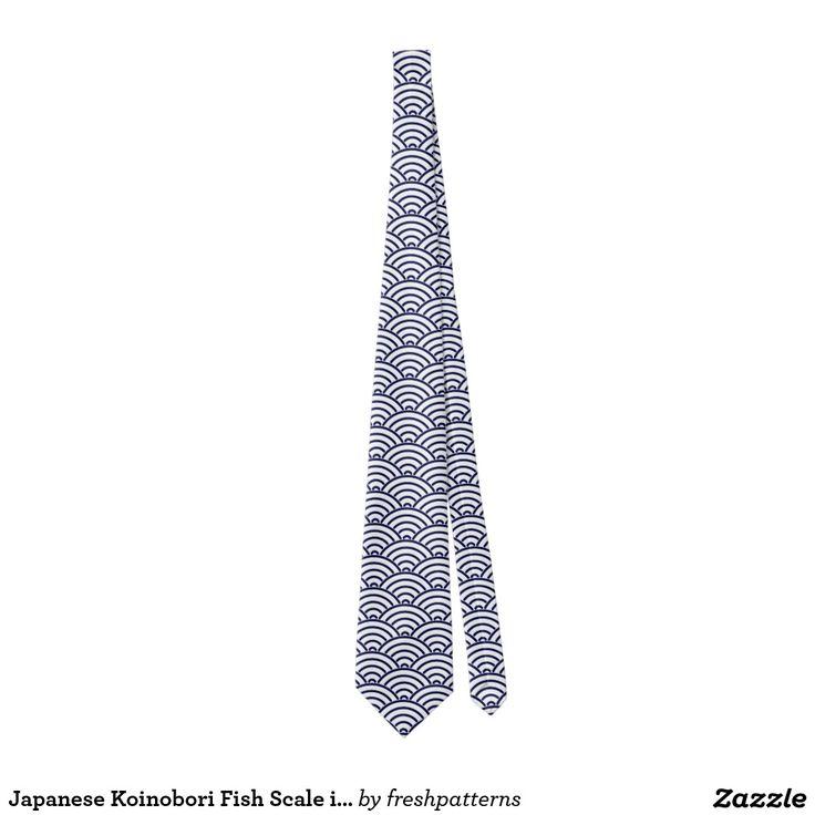 Japanese Koinobori Fish Scale in Delft Blue Tie