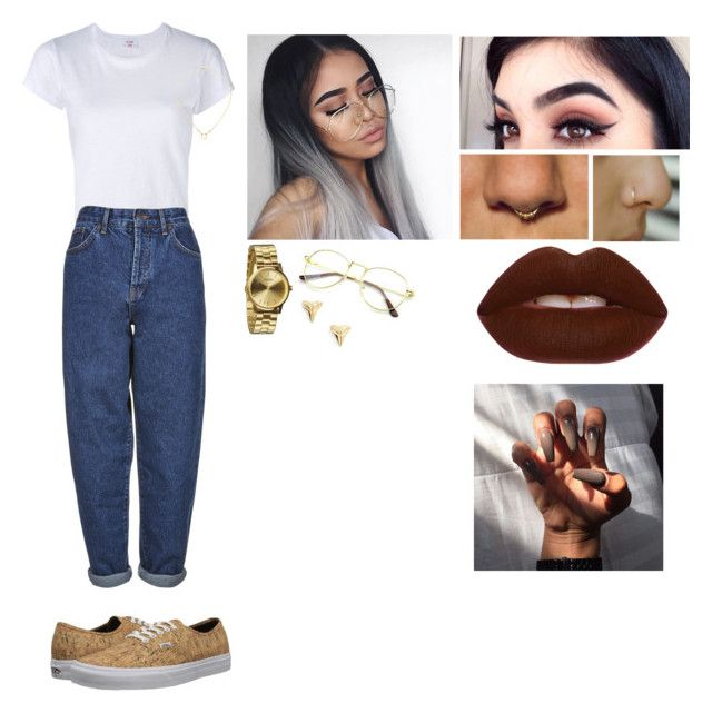 """""""Mom Jeans"""" by tweetyb98 ❤ liked on Polyvore featuring RE/DONE, Boutique, Vans, Dogeared, ki-ele, Nixon and Lime Crime"""