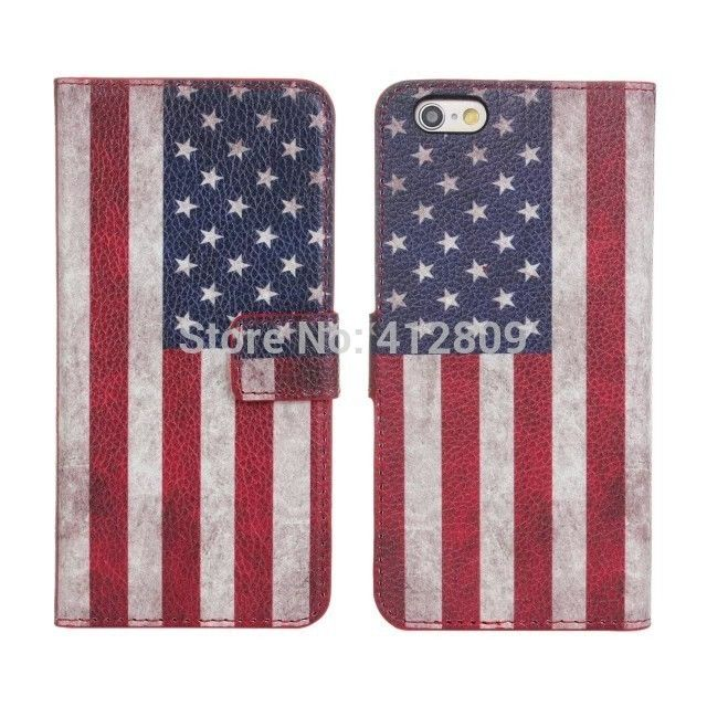"""10PCS Fashion USA UK National Retro Flag Pouch Skin Wallet Back Covers for iPhone 6 Plus 5.5"""" with ID Card Holder Free"""