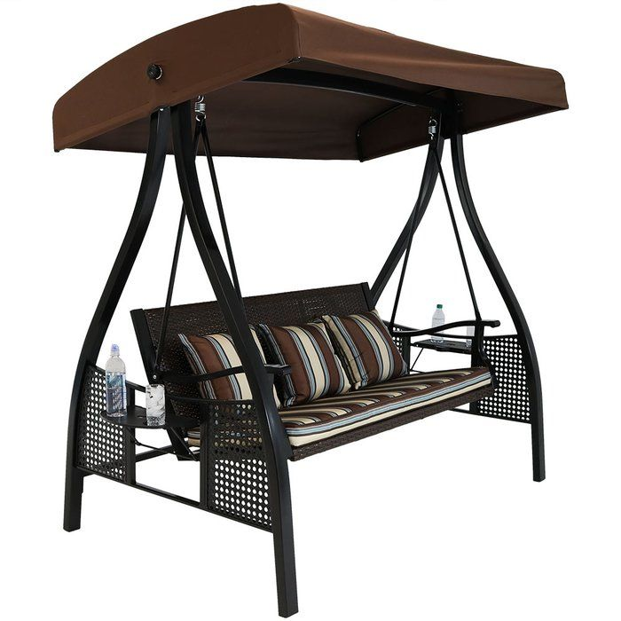 Sydnee Deluxe Wicker Garden Porch Swing With Stand Porch Swing