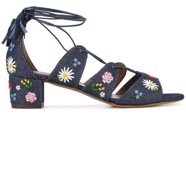 Tabitha Simmons embroidered denim sandals (2.645 RON) ❤ liked on Polyvore featuring shoes, sandals, blue, tabitha simmons shoes, multi color shoes, tabitha simmons sandals, embroidered shoes and blue shoes