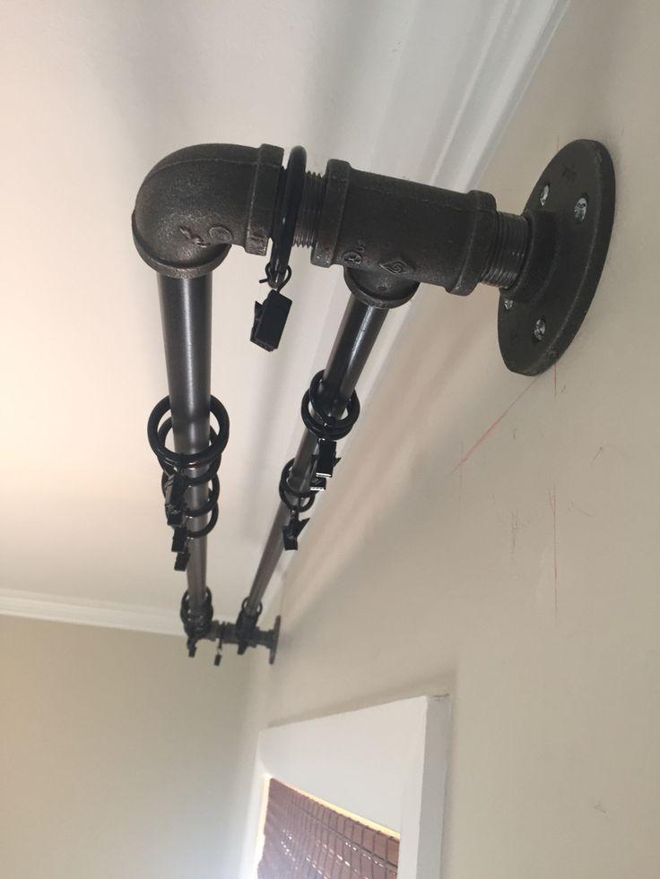 DIY double industrial conduit curtain rod. | Diy curtain ...