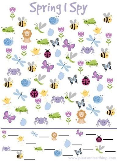 Practice fine motor skills with this free printable - Spring I Spy Game #freeprintable