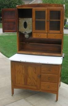 bakers cabinet with flour bin       hoosier style bakers kitchen cabinet w glass 371 best hoosier cabinets images on pinterest   kitchens vintage      rh   pinterest com