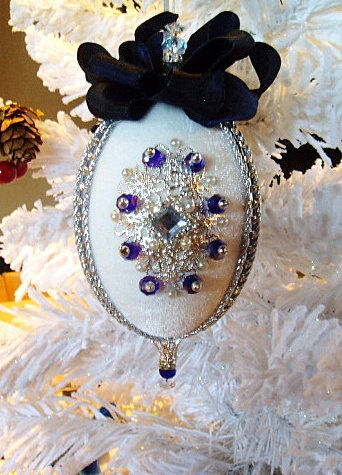 Vintage Victorian Handcrafted Christmas Ornament w/ Swarovski Crystals -Blue by HolidayCrystals on Etsy, $21.99