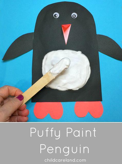 Puffy Paint Penguin for scissor skills ... sensory ... fine motor development.