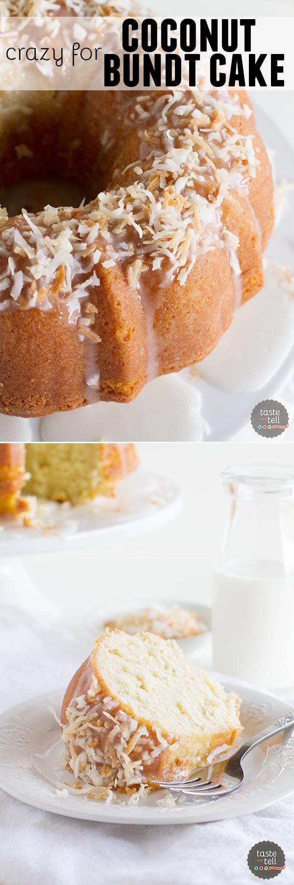 Crazy for Coconut Bundt Cake - the most perfect coconut bundt cake recipe that is flavorful and moist with the perfect amount of coconut flavor.: