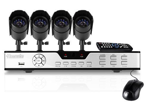 Zmodo Surveillance System with 4 Weatherproof Infrared Cameras and 500GB Hard Drive by Zmodo. $255.00. The PKD-DK4216-500GB kit includes a 4 CH H.264 DVR with 500GB HD and four indoor/outdoor security cameras providing everything you need to have your surveillance system up and running in your home or business quickly and easily. This product comes with a StandAlone DVR System and is based on an embedded Linux operating system and includes a remote control for easy setup and o...