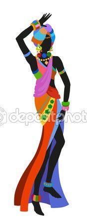 Mujer africana bailando danza ritual — Vector de stock #113982862