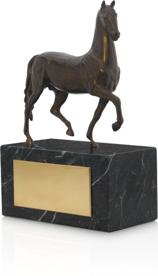 The Breeders' Cup Trophy is an authentic bronze reproduction of the original Torrie horse that was created in Florence by Giovanni da Bologna in the late 1580s. It was cast from the original & was directly supervised & approved by the University of Edinburgh for the exclusive use of Breeders' Cup Limited.  Replicas are presented to the connections of the winners of each of the Breeders' Cup World Championships races every year.