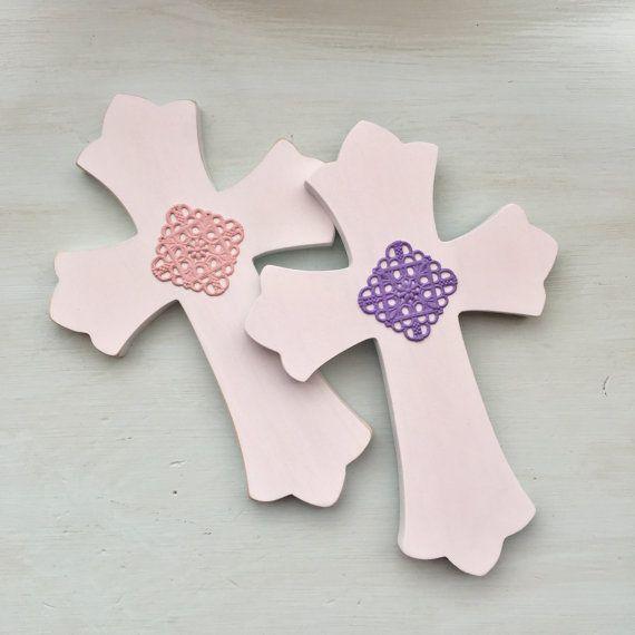 Little Girl's Cross White Pink White by EthelsGranddaughter