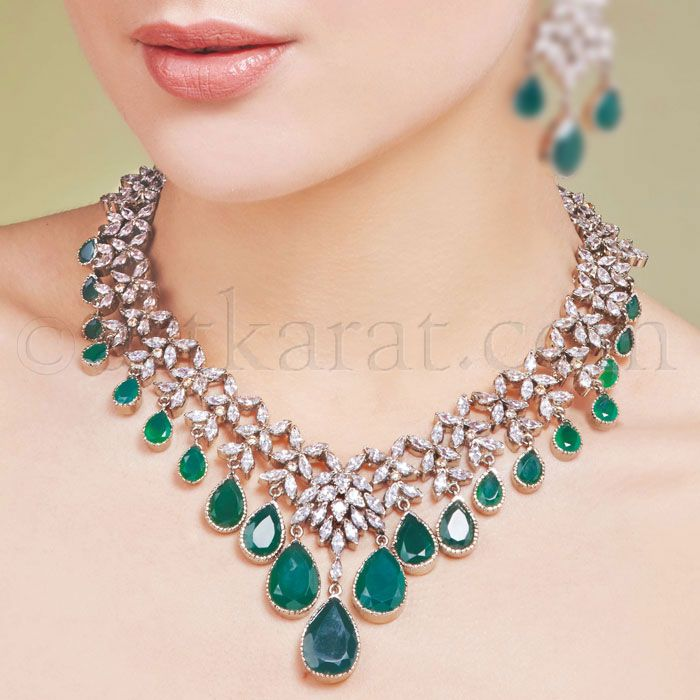 Turquoise and diamond necklace and earring. Bridal jewellery.