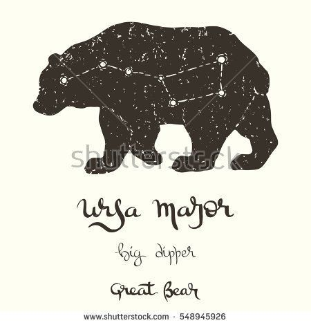 Hand drawn vector illustration of the constellation Ursa Major on the bear silhouette with several options of the writing