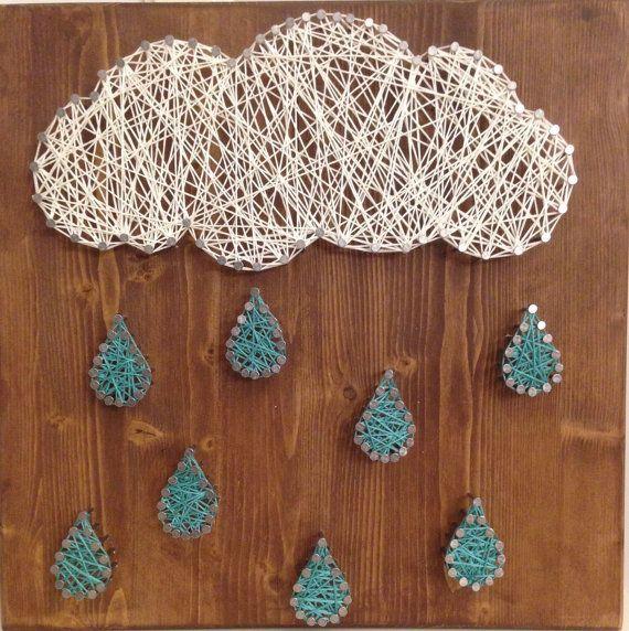 Clouds and rain String Art by JilliansGifts