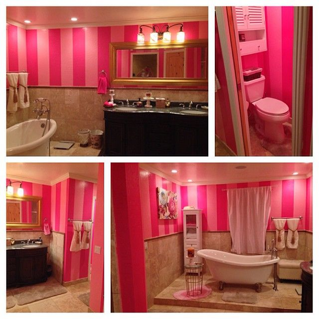 VS Inspired Bathroom ♡ (Looks like my daughter's bedroom walls)