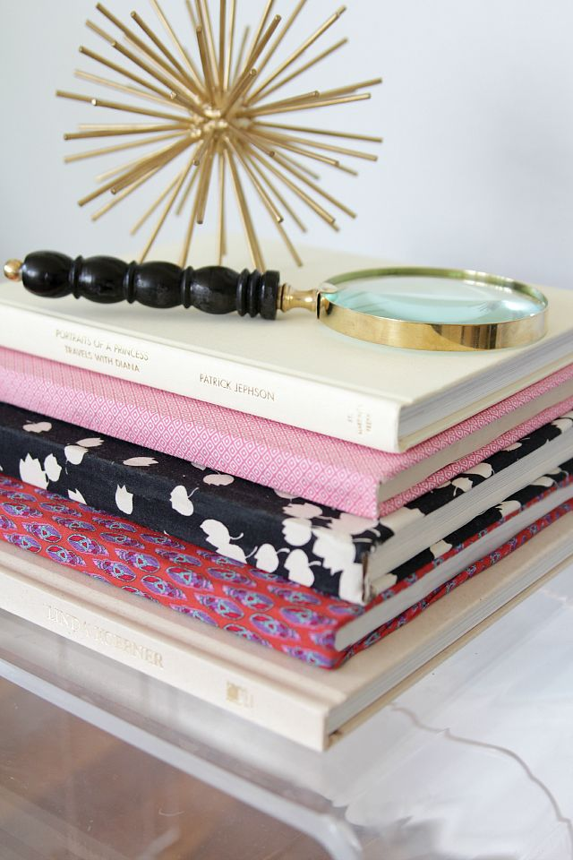 Simple Idea - pictorial for transforming books with fabric and Modge Podge  Fabric Covered Books | Decor Fix