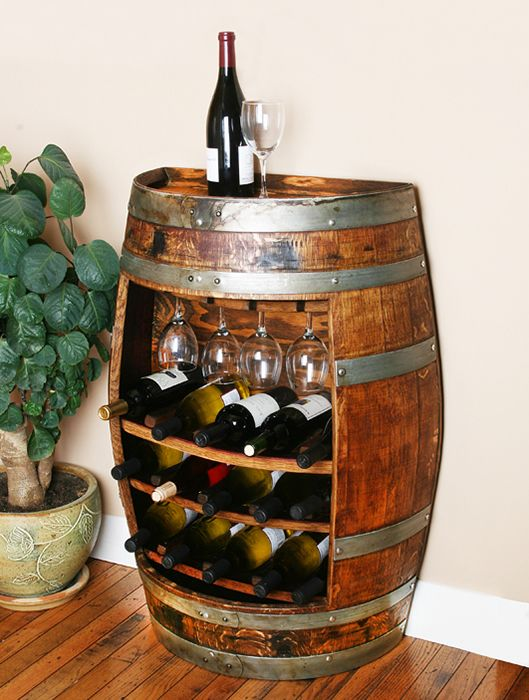 This unique wine barrel wine rack is made from a Napa Valley oak wine barrel.  This wine cabinet takes