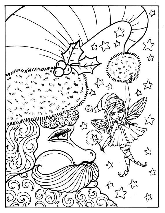 Digital Fairy Merry Christmas Coloring Book Digital Download Etsy Christmas Coloring Books Christmas Coloring Sheets Christmas Coloring Pages