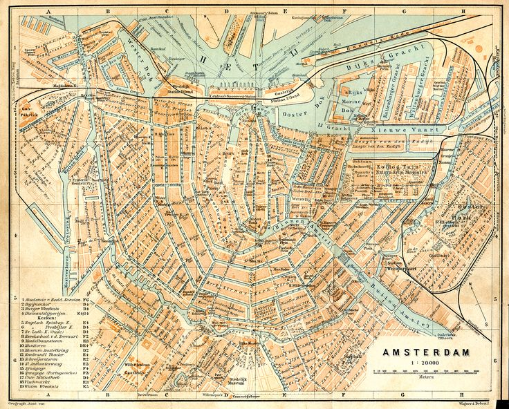 Vintage map of Amsterdam (It's free for any use... the image is in the public domain - 200dpi 2000x1609px) Source: http://www.tourvideos.com/maps-Holland.html