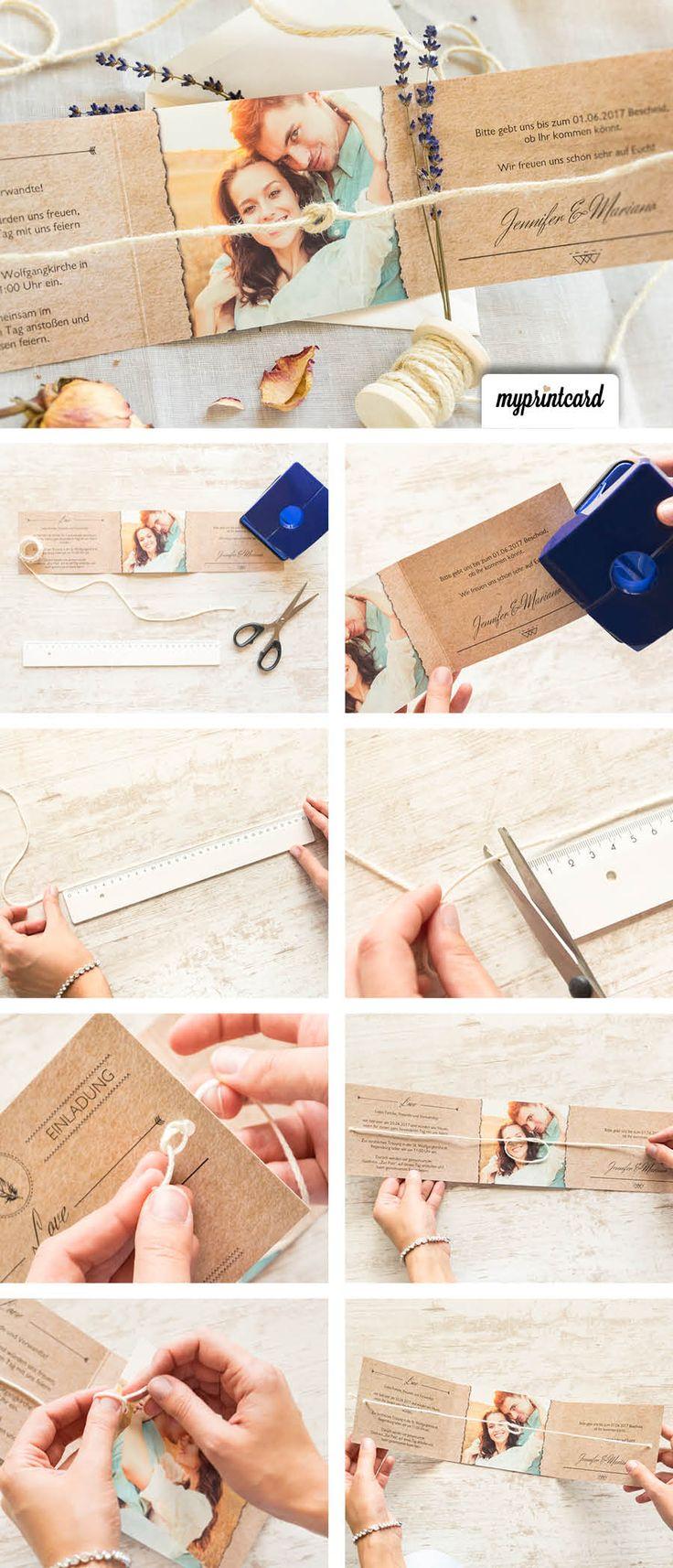 Eine kreative Bastelidee für die Hochzeitseinladung. Mit dieser Überraschung erstaunt Ihr Eure Hochzeitsgäste.  #knoten #diy #anleitung #basteln #hochzeit #tutorial #selbstgemacht #hochzeitseinladung #einladung #papier #vintage #tietheknot #wedding