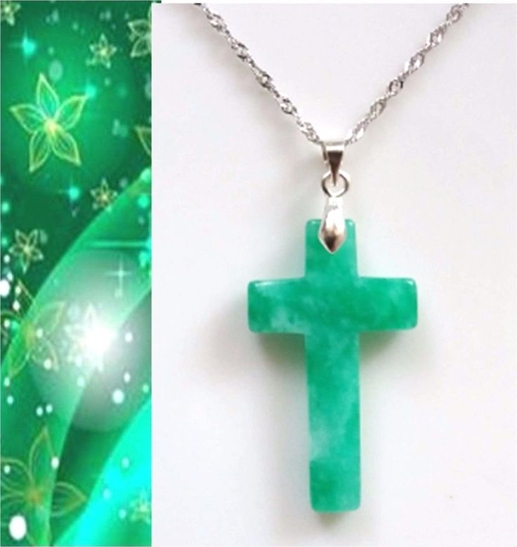 Christian Cross Grade A Natural Green Jade pendant sterling silver necklace