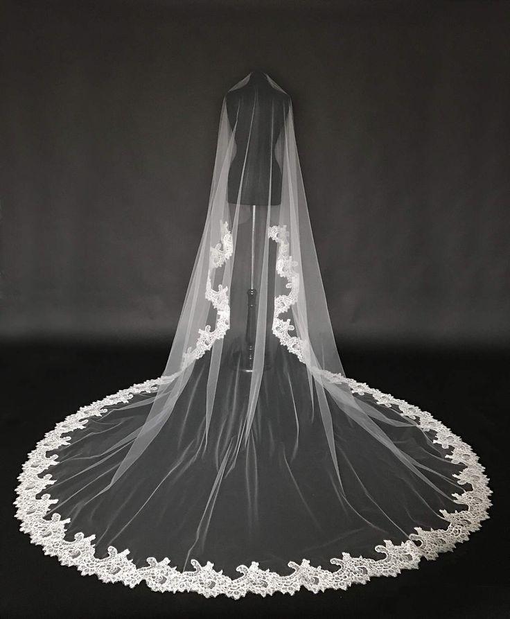 Cathedral Lace Veil, Alencon lace bridal veil, Drop veil, Wide lace veil, Chapel veil, Veil with Blusher, Bridal veil, single layer veil. by CoutureBrideBoutique on Etsy https://www.etsy.com/listing/522713181/cathedral-lace-veil-alencon-lace-bridal