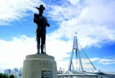 Anzac Bridge, spanning Johnstons Bay at Glebe, is one of Sydney's most recognisable landmarks, together with its commemorative Digger statue.    It was opened in December 1995, replacing the adjacent old Glebe Island Bridge, and named Anzac Bridge on Armistice Day (November 11), 1998, as a memorial to the Anzacs, soldiers of the Australian and New Zealand Army Corps in World War I.