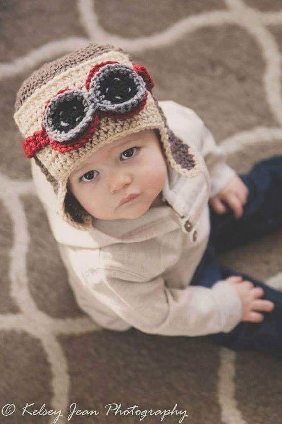 $38 Toddler Aviator Hat Baby Boy Hats Baby Aviator by azek2000 on Etsy