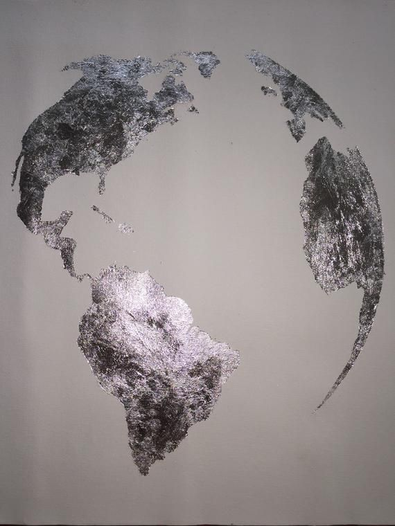 Silver Leaf Painting Map Of The World Silver Leaf Globe