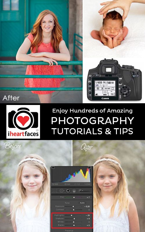 Amazing Free Photography Tutorials! Great lessons for posing, editing and using your camera over at iHeartFaces.com @I Heart Faces | Photography