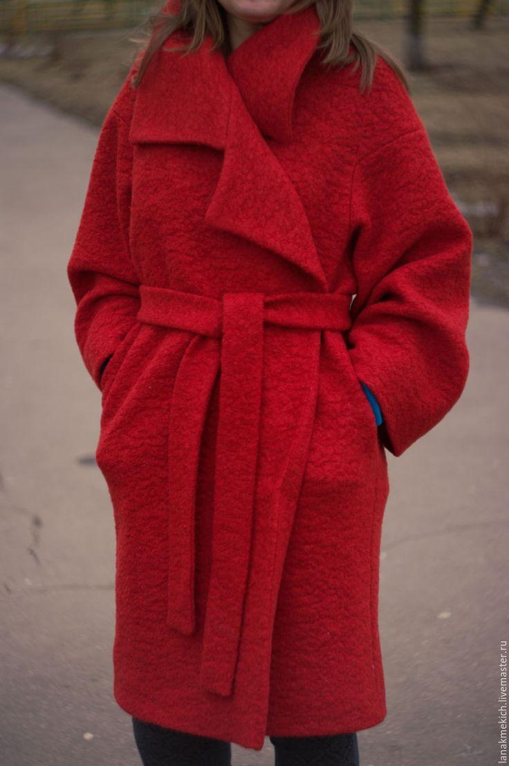 """Купить Пальто демисезонное """"Коралловое"""" - ярко-красный, однотонный, красное пальто, Осеннее пальто"""