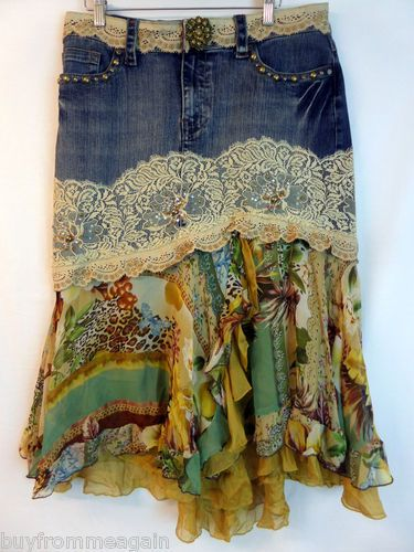 Alberto Makali Denim Blue Jean Lace Asymmetric Hem Animal Print Skirt 14 Altered