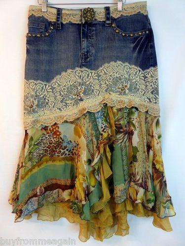 Alberto Makali Denim Blue Jean Lace Asymmetric Hem Animal Print Skirt 14 Altered