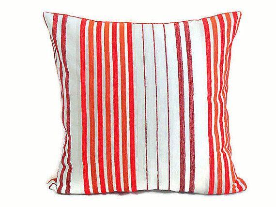 Cover di stripe ciniglia cuscino 18x18  rosso arancione di SABDECO