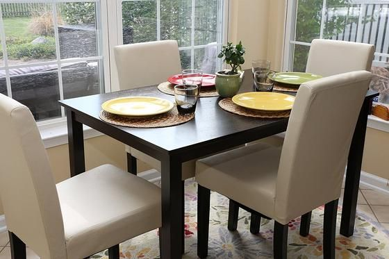 New Century 5 Pieces Ivory Faux Leather 4 Person Dining Table With Chairs