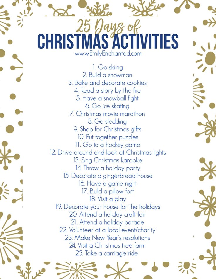 This Christmas Activities Printable is full of 25 fun ideas for you and your family to do during winter in preparation for Christmas.