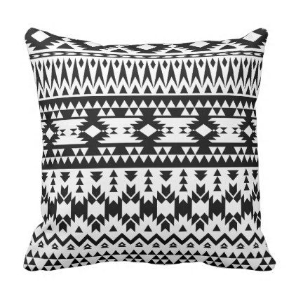 Boho flowers Black and White vector floral pattern Throw Pillow - white gifts elegant diy gift ideas