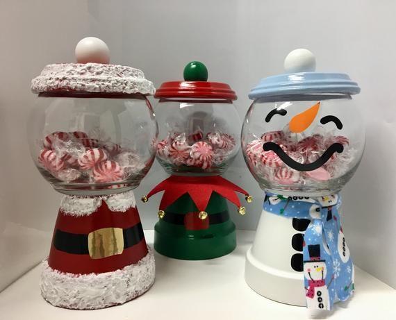 Christmas Candy Jar Santa Candy Jar Snowman Candy Jar Elf Candy Jar Clay Pot Candy Jar Holiday Candy Ja Christmas Candy Jars Christmas Clay Christmas Jars