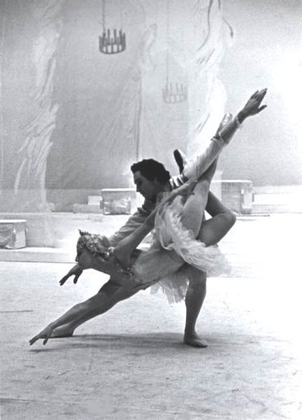 As Prince Desire in The Sleeping Beauty. Maya Plisetskaya as Princess Aurora. Photo from the Bolshoi Theatre's museum.