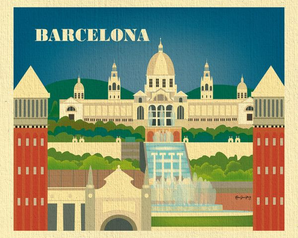 Barcelona, Spain wall art is available in an array of finishes, materials, and sizes, this retro inspired wall art will make Barcelona feel close to your heart with its bright color palette and unique