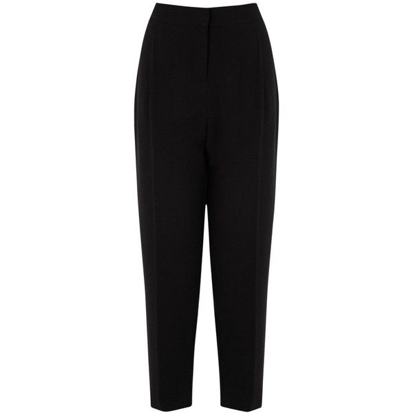 Oasis Peg Leg Trousers, Black ($14) ❤ liked on Polyvore featuring pants, capris, tapered trousers, crop length pants, peg leg trousers, pleated front pants and cropped capri pants