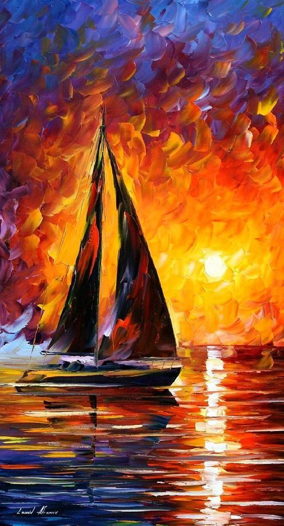 Leonid Afremov, oil on canvas, palette knife, buy original paintings, art, famous artist, biography, official page, online gallery, large artwork, fine, water, boat, sea, scape, pier, dock, night, calm, yachts, harbor, shore, rest, ship, regatta