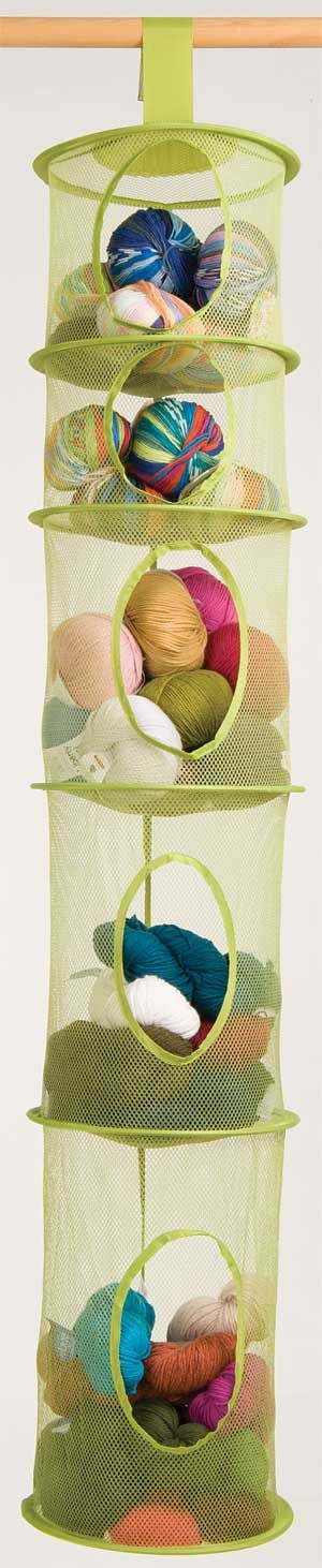 "Five-Tier Storage Organizer - hangs easily with Velcro strap - roomy bins with mesh sides so you can see through. 12"" x 59"""