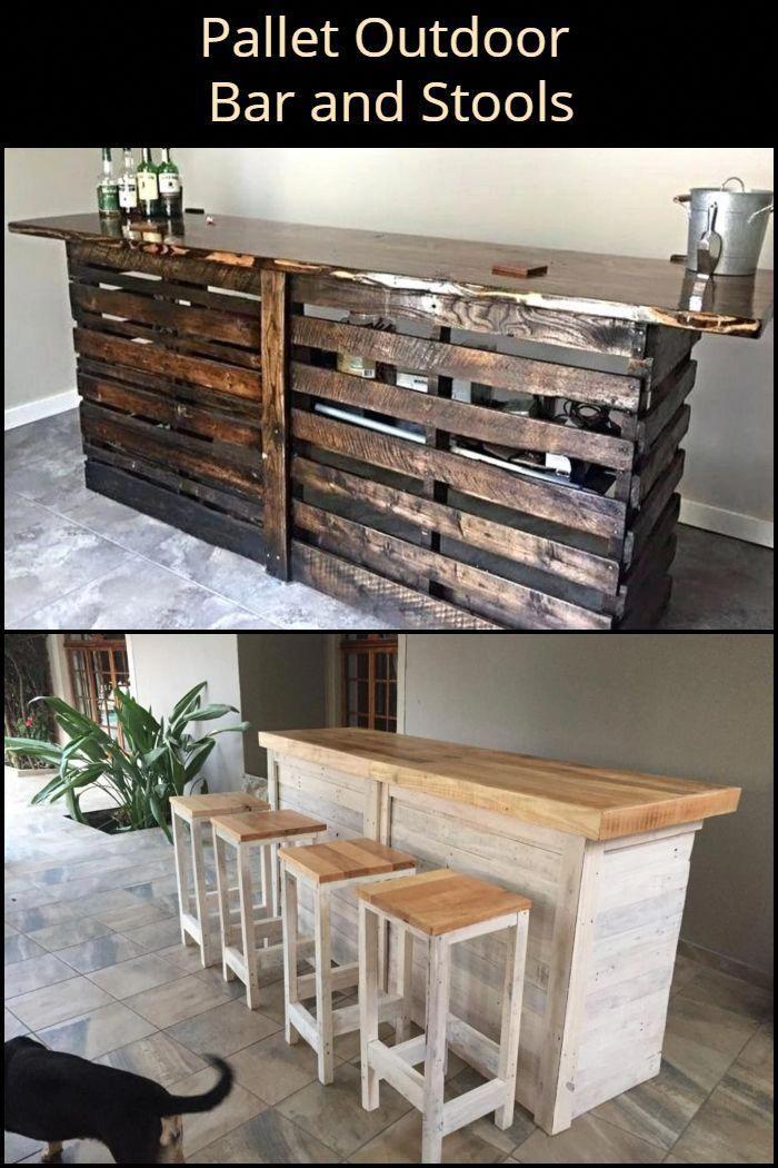 Improve Your Outdoor Space By Turning Pallets Into An Outdoor Bar And Stools Deckbuilding Diy Gartenmobel Diy Paletten Barhocker Kucheninsel